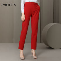 Casual pants RED 0 2 4 6 8 10 Autumn of 2019 trousers Straight pants Natural waist Versatile routine 30-34 years old Ports Polyester fiber 91% polyurethane elastic fiber (spandex) 9%