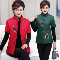 Middle aged and old women's wear Winter of 2019, autumn of 2019, spring of 2020 XL,XXL,XXXL,4XL fashion Vest easy singleton  Flower and bird pattern 40-49 years old Cardigan thick stand collar routine routine Embroidery polyester 96% and above Single breasted