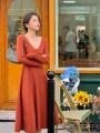 Dress Autumn 2020 Black, apricot, orange, orange S,M,L Mid length dress singleton  Long sleeves commute V-neck High waist Solid color Socket A-line skirt routine 18-24 years old Type A Retro KLF1527 31% (inclusive) - 50% (inclusive) nylon