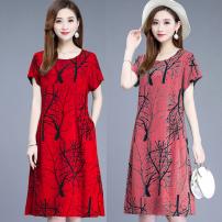 Dress Spring 2021 Lake blue, red, watermelon red, black pants XL,4XL,XXL,XXXL Mid length dress singleton  Short sleeve pocket