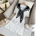 Dress Spring 2021 Black, white M, L Short skirt singleton  Short sleeve commute Admiral High waist Solid color Socket other other Type A Splicing 51% (inclusive) - 70% (inclusive) polyester fiber