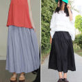 skirt Summer of 2019 Average size Black, light gray, light brown, skin powder longuette fresh Natural waist Pleated skirt Solid color Type A 25-29 years old More than 95% brocade cotton Fold, splice