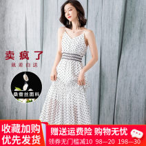 Dress Summer 2021 White, black S,M,L,XL,2XL,3XL longuette singleton  Sleeveless commute V-neck High waist Dot Socket A-line skirt routine Others Type A Korean version 31% (inclusive) - 50% (inclusive) Crepe de Chine silk