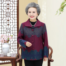Middle aged and old women's wear Autumn of 2018, winter of 2018 Happiness Jacket / jacket easy singleton  other Over 60 years old Cardigan moderate Polo collar Medium length (length 50-70cm) routine Button Polyester, others 96% and above Single breasted