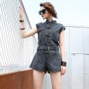 Casual pants grey S,M,L Summer 2021 shorts Jumpsuit Natural waist street Thin money 51% (inclusive) - 70% (inclusive) O-BAI Button cotton Europe and America
