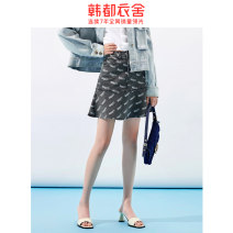 skirt Summer 2021 S,M,L grey Short skirt Versatile High waist Denim skirt Broken flowers Type A 18-24 years old TK00817/ More than 95% Denim Hstyle / handu clothing house cotton Pocket, zipper, panel, print