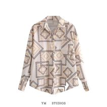 shirt Picture color [a200844] S, M Autumn 2020 other 51% (inclusive) - 70% (inclusive) Long sleeves street Regular Polo collar Single row multi button shirt sleeve printing Europe and America