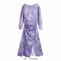 Dress Autumn 2020 Picture color [2698] XS,S,M,L longuette singleton  Long sleeves street High waist Decor Socket printing Europe and America