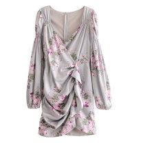 Dress Spring 2020 S,M,L Short skirt singleton  Long sleeves street V-neck Decor bishop sleeve Ruffles, pleats, prints Europe and America