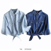 shirt Light blue [a020], dark blue [a020] S,M,L,XL,2XL Summer 2020 cotton 51% (inclusive) - 70% (inclusive) Short sleeve street Short style (40cm < length ≤ 50cm) Polo collar Single row multi button Solid color Europe and America