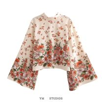 shirt Design and color [3395] S,M,L Spring 2021 other 81% (inclusive) - 90% (inclusive) Long sleeves street Regular Socket pagoda sleeve Lace up, printed Europe and America