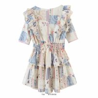 Dress Spring 2021 S,M,L Short skirt singleton  Short sleeve street Crew neck Elastic waist Decor Socket A-line skirt routine printing 51% (inclusive) - 70% (inclusive) Europe and America