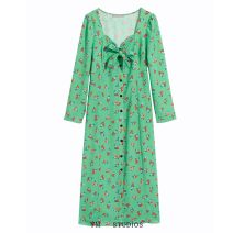 Dress Spring 2020 Green Decor [5746] S,M,L longuette singleton  Long sleeves street Decor Single breasted Lace up, printed Europe and America