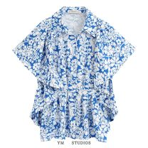 shirt Picture color [2051] XS,S,M,L Summer 2020 other 51% (inclusive) - 70% (inclusive) street Regular Single row multi button Broken flowers Ruffle, print Europe and America