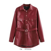 leather clothing Other / other Autumn 2020 S,M,L Long sleeves street Polo collar PU