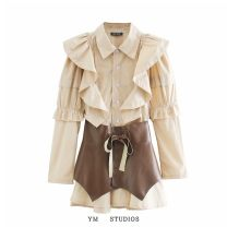 Dress Autumn 2020 Picture color [1673] S,M,L Short skirt Two piece set Long sleeves street Polo collar Lotus leaf edge Europe and America