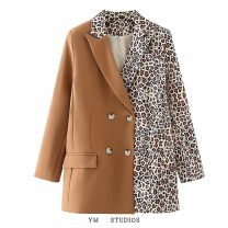 suit Autumn 2020 Brown Leopard [27697], black and white leopard [27698] S,M,L Long sleeves routine easy tailored collar Single breasted street
