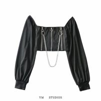 shirt S, M Autumn 2020 other 51% (inclusive) - 70% (inclusive) Long sleeves street Short style (40cm < length ≤ 50cm) square neck zipper Solid color Self cultivation chain Europe and America