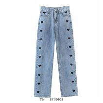 Jeans Spring 2021 Picture color [9496] S,M,L trousers Natural waist Straight pants routine Washing, embroidery light colour 71% (inclusive) - 80% (inclusive)