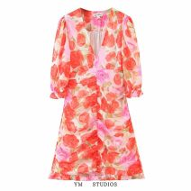 Dress Spring 2021 Design and color [7586] S,M,L Short skirt singleton  three quarter sleeve street V-neck middle-waisted Decor Socket A-line skirt routine printing 71% (inclusive) - 80% (inclusive) Chiffon Europe and America