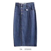 skirt Autumn 2020 S,M,L,XL Off white, denim blue Mid length dress street High waist Denim skirt Solid color More than 95% Denim other Europe and America