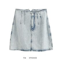 skirt Summer 2020 XS,S,M,L Picture color Short skirt street High waist A-line skirt Solid color Type A Denim Europe and America