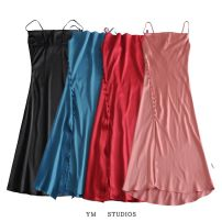 Dress Spring 2021 Black [61940], red [61940], pink [61940], lake blue [61940] XS,S,M,L longuette singleton  Sleeveless street High waist Solid color Socket A-line skirt routine camisole Type A 81% (inclusive) - 90% (inclusive) Europe and America