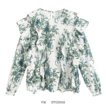 shirt Picture color [2050] XS,S,M,L Spring 2020 other 51% (inclusive) - 70% (inclusive) Long sleeves street Regular Crew neck Socket Ruffle, print Europe and America