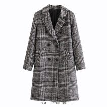 woolen coat Autumn 2020 S,M,L,XL other 51% (inclusive) - 70% (inclusive) Medium length Long sleeves street double-breasted tailored collar houndstooth  Straight cylinder Europe and America