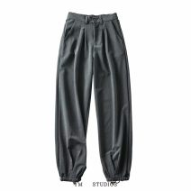 Casual pants Gray [yt22], black [yt22], beige [yt22] S,M,L Autumn 2020 trousers Natural waist street routine Europe and America