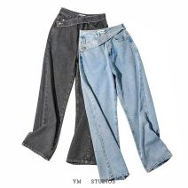 Jeans Autumn 2020 Black [nz095], blue [nz095] XS,S,M,L trousers High waist Straight pants routine