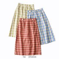 skirt Summer 2020 XS,S,M,L Mid length dress street High waist skirt lattice Europe and America