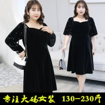 Dress Spring 2021 Black short sleeve-02x, black long sleeve-08j, collection plus purchase priority delivery XL 130-150kg, 2XL 150-170kg, 3XL 170-190kg, 4XL 190-220kg Mid length dress singleton  Other Nail bead, open back, solid color D225E9070
