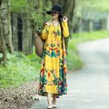 Dress Spring 2021 Red - 7bb, yellow - GTM, green - 47a, blue - 6bo, Tibetan - 5T4, collection and purchase priority M,L,XL,2XL longuette singleton  Long sleeves routine printing F69BE9070