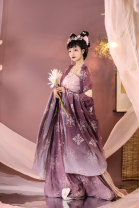 Hanfu 96% and above Purple 4-piece set in stock S,M,L,XL polyester fiber