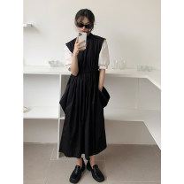 Dress Summer 2021 Black and white color matching S,M,L Mid length dress singleton  Short sleeve commute stand collar High waist Solid color Socket A-line skirt routine Others 18-24 years old Type A AMBOSC Korean version Pockets, stitching 21Q0019 51% (inclusive) - 70% (inclusive) other cotton