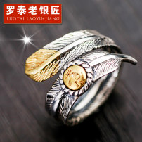Ring / ring Silver ornaments 201-300 yuan Luotai old silversmith Open feather ring (size 13-26) Gold Eagle Head Silver Eagle Head brand new goods in stock Retro / court lovers Fresh out of the oven Not inlaid other 0101067 925 Silver 2015 yes