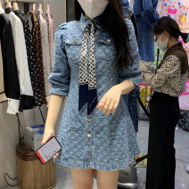 Dress Spring 2021 Light blue, dark blue S,M,L Short skirt Two piece set elbow sleeve commute tailored collar High waist other Single breasted A-line skirt routine Others 18-24 years old Type A Other / other Retro Button, 3D, print Niche denim dress 81% (inclusive) - 90% (inclusive) Denim cotton