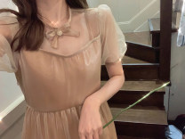 Dress Summer 2021 Grey, flesh S,M,L Mid length dress singleton  Short sleeve commute Crew neck High waist Solid color A-line skirt puff sleeve Others Type A Korean version 30% and below other other