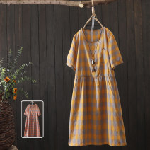 Dress Summer 2020 Yellow orange Average size longuette singleton  Short sleeve commute Crew neck Loose waist lattice Socket A-line skirt 30-34 years old Xuning Splicing XNLL-ML50147 More than 95% other Other 100% Pure e-commerce (online only)