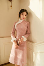 cheongsam Winter 2020 S,M,L Pink spring and autumn thin, blue winter thickening warm, Pink Winter thickening warm Long sleeves long cheongsam Retro Low slit daily Oblique lapel Solid color 25-35 years old Piping polyester fiber