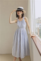 Dress Summer 2020 Borage blue S,M,L longuette singleton  Sleeveless commute V-neck High waist stripe Socket Big swing other Type X Other / other Simplicity bow 1628# 31% (inclusive) - 50% (inclusive) other cotton