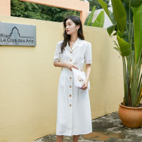 Dress Summer of 2019 white S,M,L Miniskirt singleton  Short sleeve commute V-neck High waist Solid color Single breasted other puff sleeve Other / other Simplicity 2311#