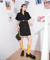 Dress Summer 2020 black S,M,L Short skirt singleton  Short sleeve commute High waist Single breasted 18-24 years old Type H Korean version 8627#