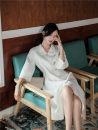 Dress Autumn of 2019 white S,M,L Miniskirt Nine point sleeve V-neck Single breasted Other / other