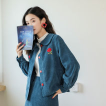 Fashion suit Winter of 2019 S,M,L Peacock blue top, peacock blue skirt 18-25 years old Other / other 9140#