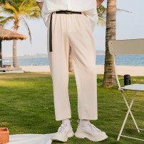 Casual pants CHICERRO Youth fashion Grey, apricot, black S,M,L,XL routine Ninth pants Other leisure easy Micro bomb summer teenagers tide 2021 Medium high waist Straight cylinder Beach pants Three dimensional tailoring No iron treatment Solid color