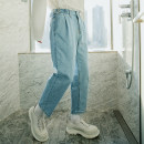 Jeans Youth fashion CHICERRO S,M,L,XL wathet routine No bullet Regular denim trousers Other leisure spring teenagers middle-waisted Loose straight tube tide 2021 Straight foot zipper Three dimensional tailoring washing cotton