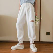 Casual pants CHICERRO Youth fashion White, black S,M,L,XL routine Ninth pants Other leisure easy Micro bomb summer teenagers tide 2021 middle-waisted Little feet Tapered pants hole No iron treatment Solid color
