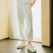 Casual pants CHICERRO Youth fashion Black, khaki, white S,M,L,XL routine trousers Other leisure easy Micro bomb spring teenagers tide 2021 Medium high waist Little feet Sports pants Hem at hem No iron treatment Solid color